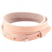 Triple nubuck leather Cuoio bracelet 8mm for 12mm cabochon Light coral pink