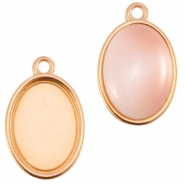 DQ metal setting oval one eye (for 10x13mm cabochon) Rose gold (nickel free)