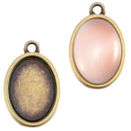 DQ metal setting oval one eye (for 10x13mm cabochon) Antique bronze (nickel free)