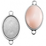 DQ metal oval setting two loops (for 13x18mm cabochon) Antique silver (nickel free)