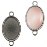 DQ metal oval setting two loops (for 10x13mm cabochon)  Silver anthracite (nickel free)