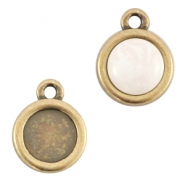 DQ metal setting 1 loop for 7mm cabochon and SS34 flatback stone Antique bronze (nickel free)