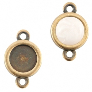 DQ metal setting 2 loops for 7mm cabochon and SS34 flatback stone Antique bronze (nickel free)