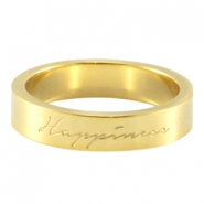 "Quote ring ""happiness"" Gold"