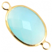 Crystal glass connectors oval Aqua blue opal-gold