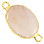 Oval semi precious connectors Light grey opal - gold