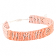 "Trendy beach bracelets ""happy"" Coral pink"