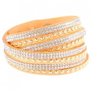 Faux suède bracelet with rhinestones and studs Bright coral