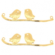 DQ metal connector birds on a branch Gold (nickel free)