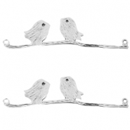 DQ metal connector birds on a branch Antique silver (nickel free)