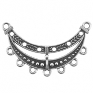 DQ metal findings for statement necklace with 7 loops/rings Antique silver (nickel free)