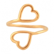 DQ metal ring 2 hearts Rose gold (nickel free)