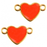 Heartshaped metal connector Gold-dark coral pink