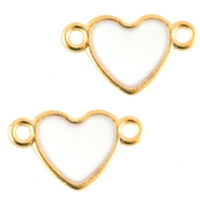 Heartshaped metal connector Gold-white