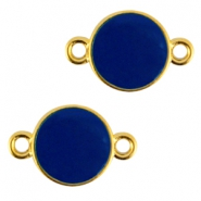 Round metal connector Gold-cobalt blue