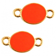 Oval metal connector Gold-dark coral pink