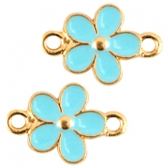 Metal connector flower Gold-azure blue