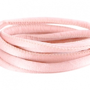 Stitched DQ silk cord 6x4mm Sunkiss coral