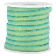 Trendy stitched Jean-Jean cord 6x4mm Crysolite green