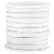 Trendy stitched Jean-Jean cord 6x4mm White