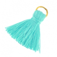 Small tassels with ring Dark turquoise green