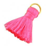 Small tassels with ring Neon pink