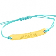 Waxed cord bracelets with quote  Gold - Dark turquoise