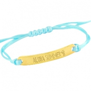 Satin wire bracelets with quote Gold - Light aquamarine blue
