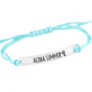 Satin wire bracelets with quote Silver - Light aquamarine blue