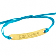 Satin wire bracelets with quote Gold - Scuba blue
