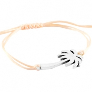 Satin wire bracelets with palmtree  Silver-pastel peach