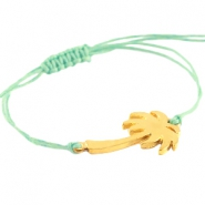 Waxed cord bracelets with palmtree Gold-turquoise