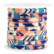 Trendy stitched cord 6x4mm Blue coral pink