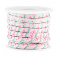 Trendy stitched cord 5x4mm Pink-turquoise