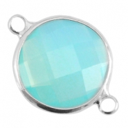 Crystal glass connectors round 16mm Aqua blue opal-Silver