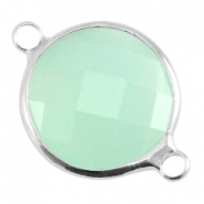 Crystal glass connectors round 16mm Crysolite green opal-Silver