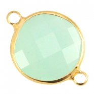 Crystal glass connectors round 16mm Crysolite green opal-Gold