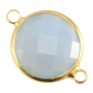 Crystal glass connectors round 16mm Light grey opal-Gold