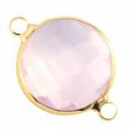 Crystal glass connectors round 16mm Light rose opal-Gold