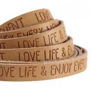 10mm flat faux leather with quote Love Life  Cognac brown