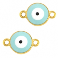 Metal connector evil eye Gold-licht blue