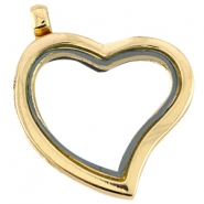 Floating charms locket/ heart medallion Gold