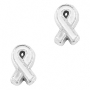 Floating charms awareness ribbon Antique silver-white