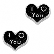 Heartshaped floating charms I Love You Antique silver-black