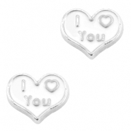 Heartshaped floating charms I Love You Antique silver-white