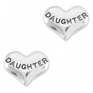 Heartshaped floating charms daughter Antique silver