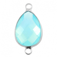 Crystal glass connectors drop shaped 13x18mm Aqua blue opal-Silver