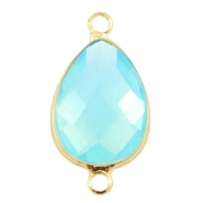 Crystal glass connectors drop shaped 13x18mm Aqua blue opal-Gold
