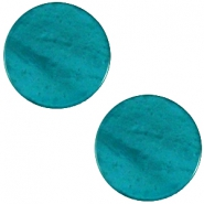 Flat 20mm Polaris cabochon Mosso shiny Deep teal blue