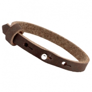 8mm Nubuck leather Cuoio bracelets for 12mm cabochon Dark chocolate brown